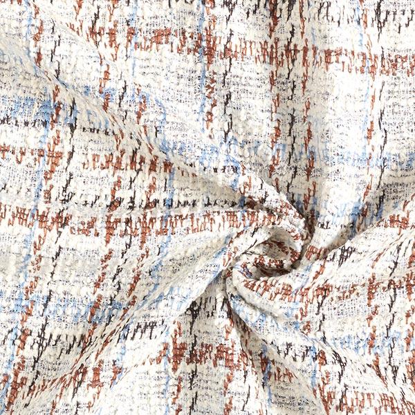 Maille bouclée carreaux lurex – écru/bleu