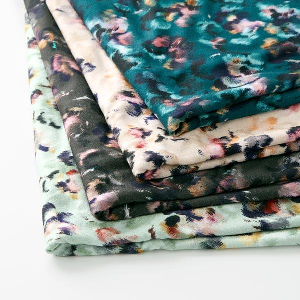 Jersey viscose violettes floues – vert foncé