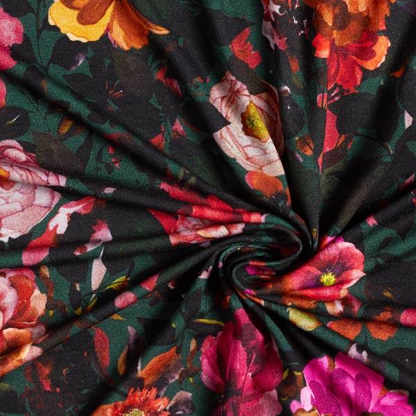 Jersey viscose fleurs automnales – vert foncé