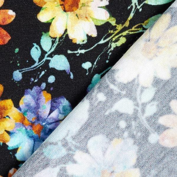 Jersey viscose fleurs aquarelles lumineuses – noir