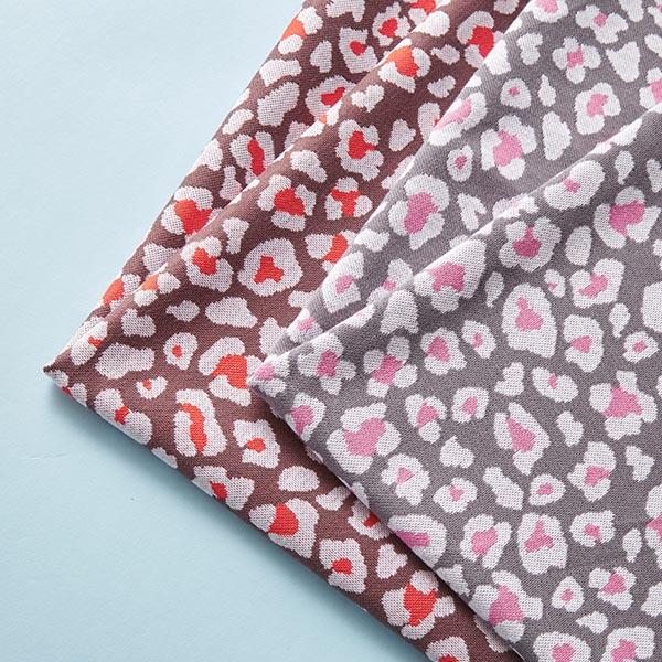 Jacquard tricot fleur léopard – gris foncé/rose