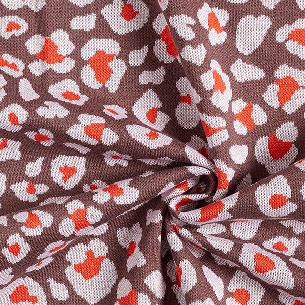 Jacquard tricot fleur léopard – chocolat/rouge-orange