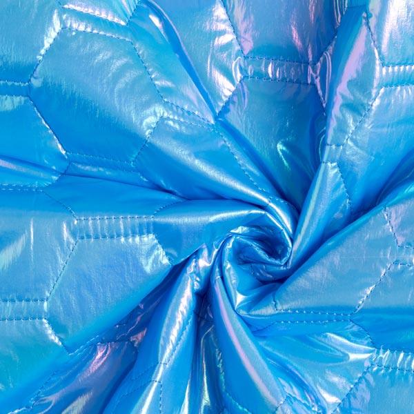 Tissu matelassé alvéoles chatoyant – bleu turquoise