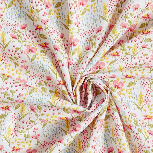 Tissu en coton Popeline Pré fleuri coloré GOTS – blanc