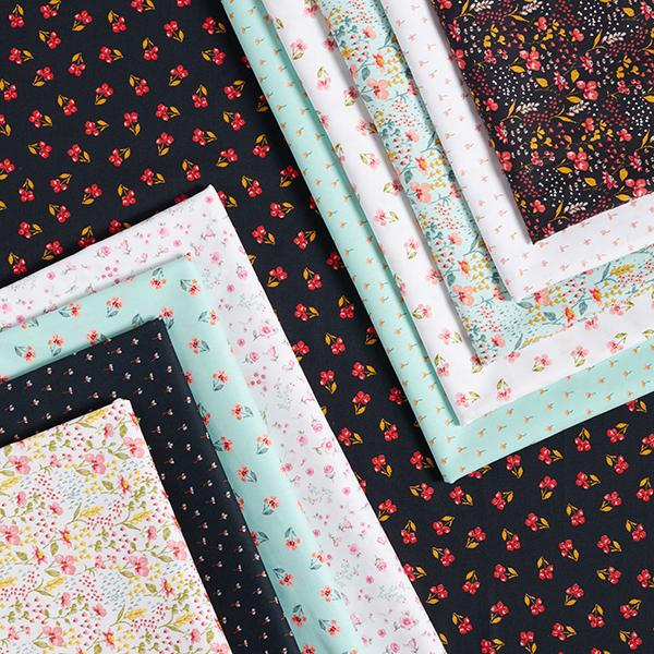 Tissu en coton Popeline Pré fleuri coloré GOTS – noir