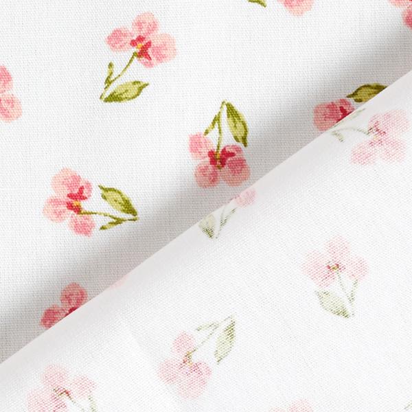 Tissu en coton Popeline Pensées GOTS – blanc