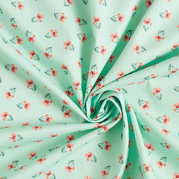 Tissu en coton Popeline Pensées GOTS – vert menthe