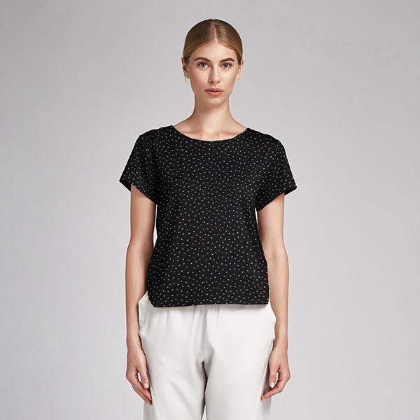 Tissu en coton Popeline Petites fleurs GOTS – noir