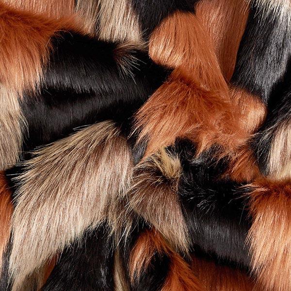 Fourrure synthétique patchwork – marron/noir