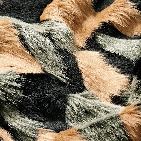 Fourrure synthétique patchwork – vert menthe/beige