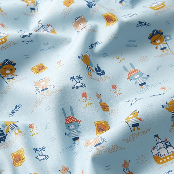 Tissu en coton Popeline Pirates Ohé GOTS – bleu clair