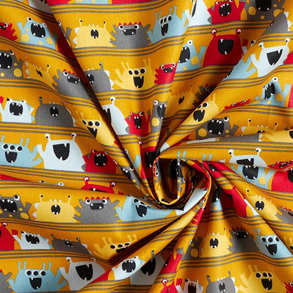 Tissu en coton Popeline Monstres joyeux GOTS – moutarde