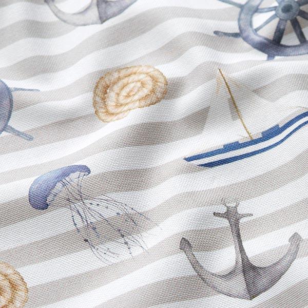 Dekostoff Canvas Digitaldruck Maritim – hellgrau