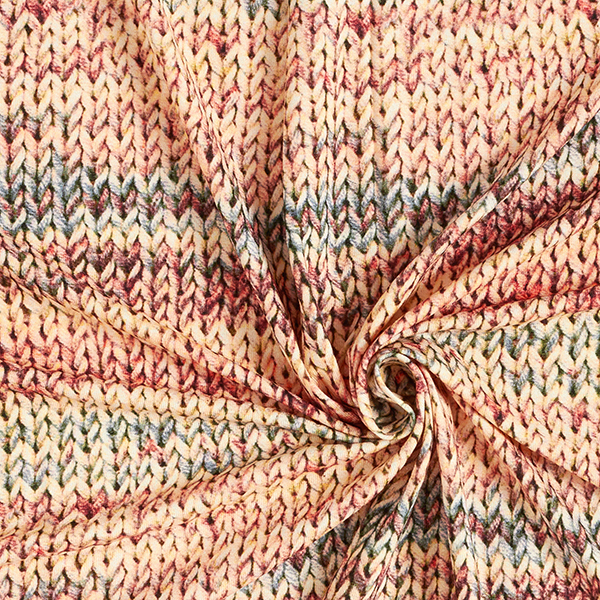 Jersey viscose Aspect tricoté – saumon/vert menthe