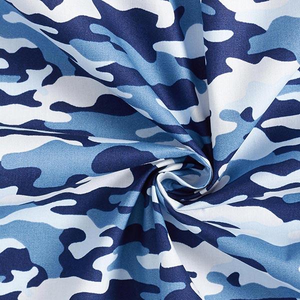 Popeline coton Camouflage – bleu marine/bleu jean