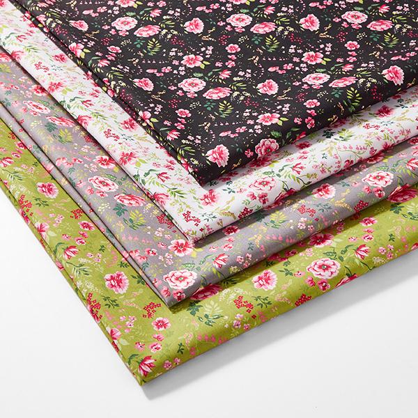 Tissu en coton Popeline Roses sauvages – blanc