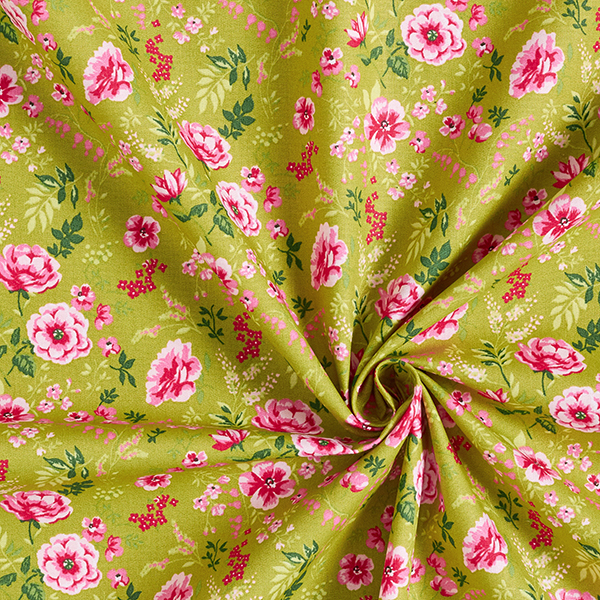 Tissu en coton Popeline Roses sauvages – curry