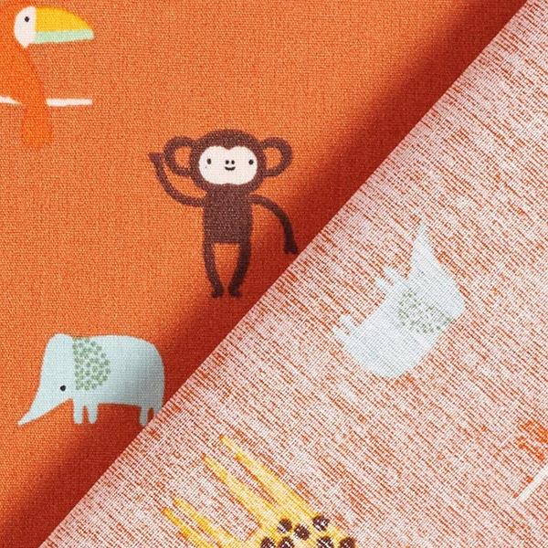 Popeline coton Animaux de safari – terre cuite