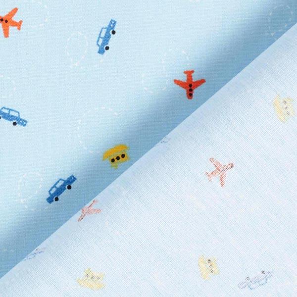 Popeline coton Mini-véhicules – bleu bébé