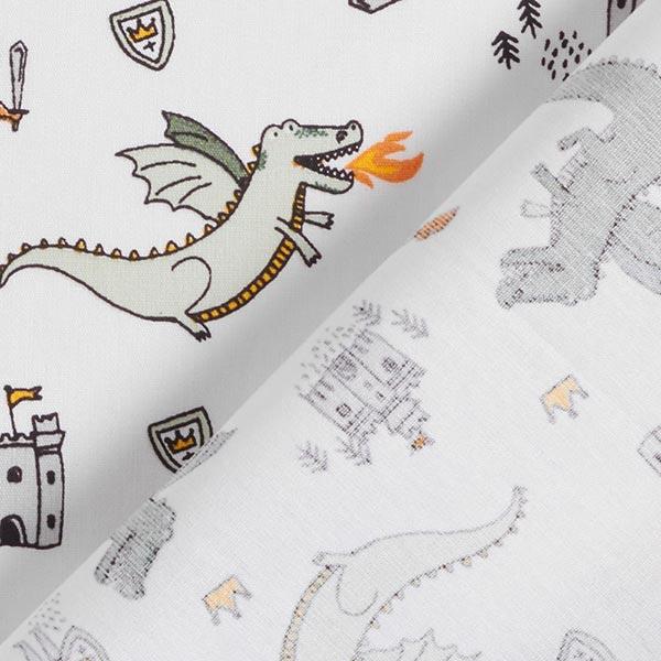 Tissus en coton Popeline Chevalier et dragon – blanc