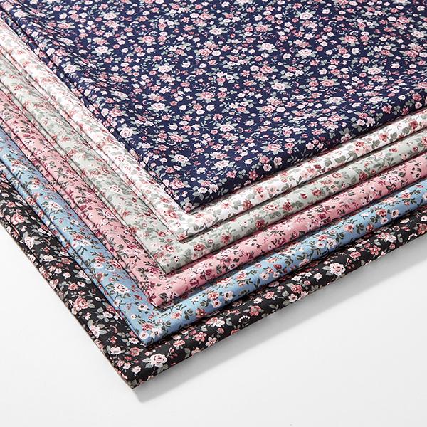 Tissu en coton Popeline Petites roses – navy