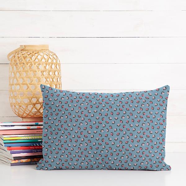 Tissu en coton Popeline Petites roses – bleu clair