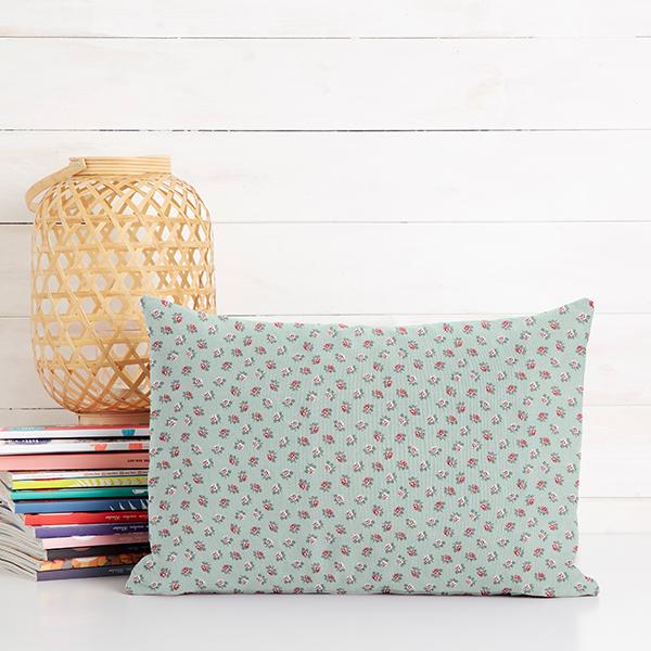 Tissu en coton Popeline Petites roses – vert menthe