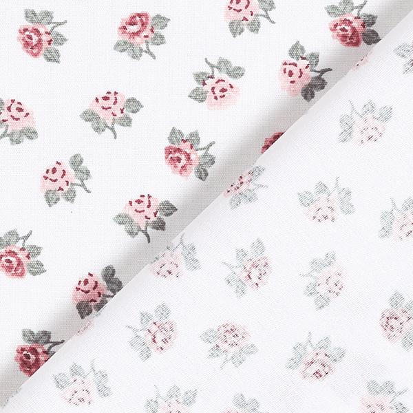 Tissu en coton Popeline Petites roses – blanc