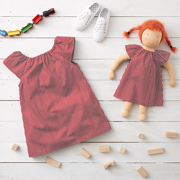 Baumwollpopeline Streifen – rot/weiss