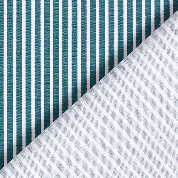 Popeline coton Rayures – pétrole/blanc