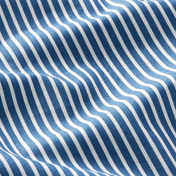 Baumwollpopeline Streifen – jeansblau/weiss