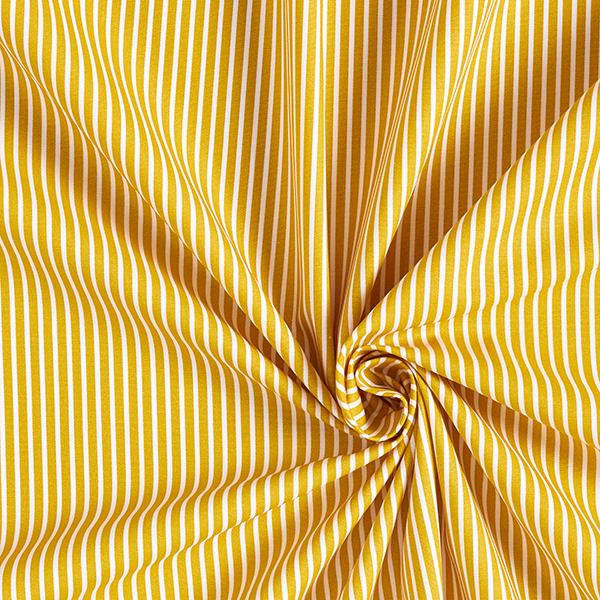 Baumwollpopeline Streifen – senf/weiss