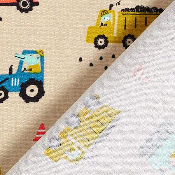 Popeline coton Animaux de chantiers – beige