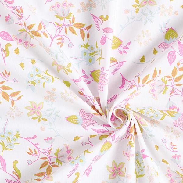 Tissu en coton Popeline Rinceaux de fleurs délicats – blanc