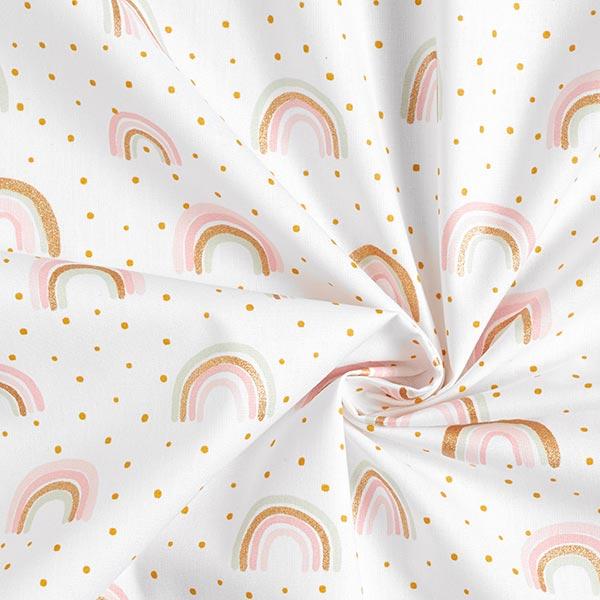 Tissus en coton Popeline Arc-en-ciel en paillettes – blanc/or