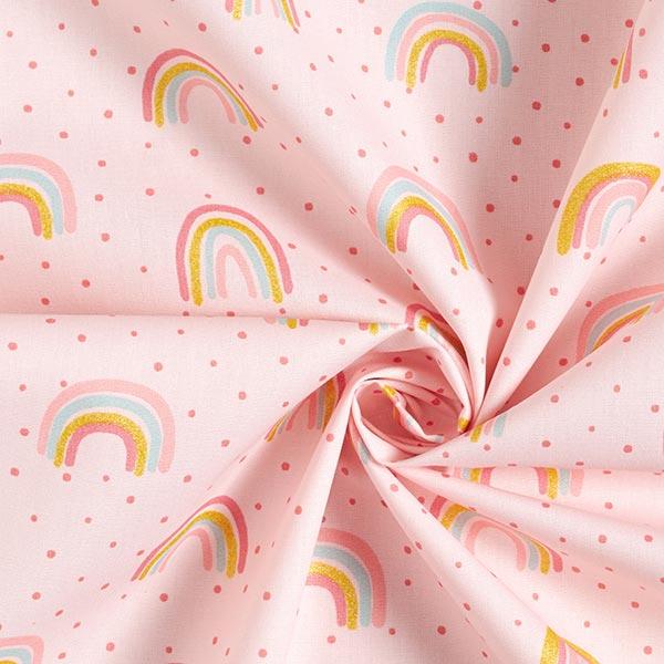 Tissus en coton Popeline Arc-en-ciel en paillettes – rosé