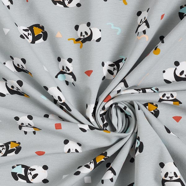 Jersey coton GOTS Panda espiègle – argent/noir