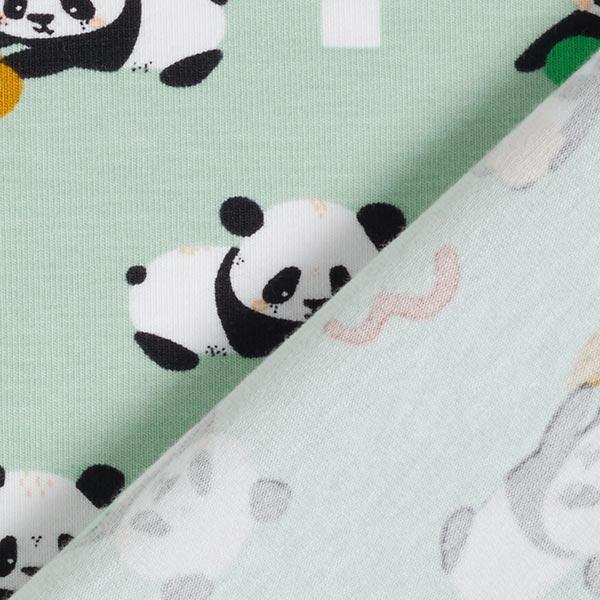 Jersey coton GOTS Panda espiègle – vert pastel/noir