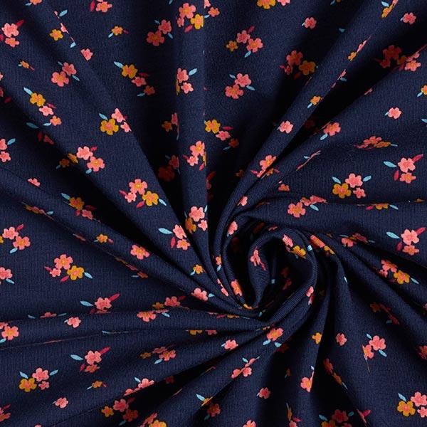 Jersey coton GOTS Petites fleurs | by Poppy – bleu marine/moutarde