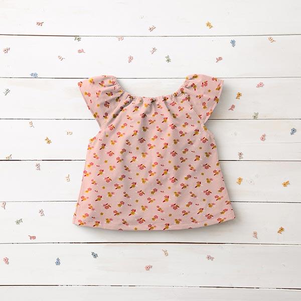 Jersey coton GOTS Petites fleurs | by Poppy – rose/moutarde