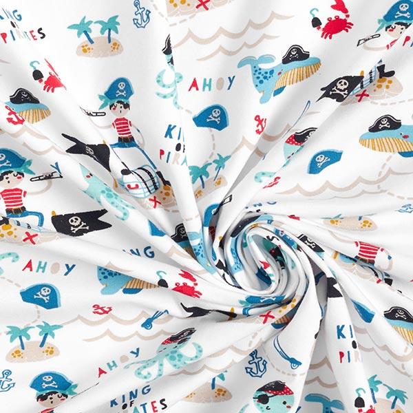 Jersey coton GOTS Pirates – blanc