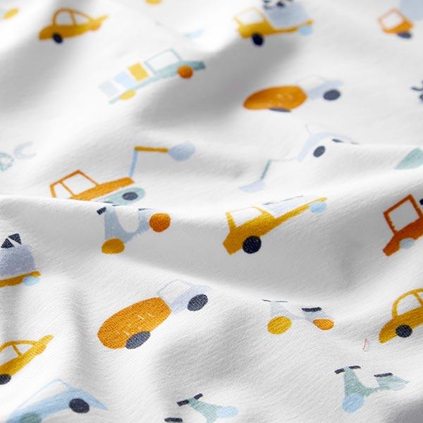 Jersey coton GOTS Véhicules – blanc