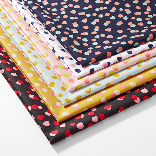 Tissu en coton Popeline Points – noir