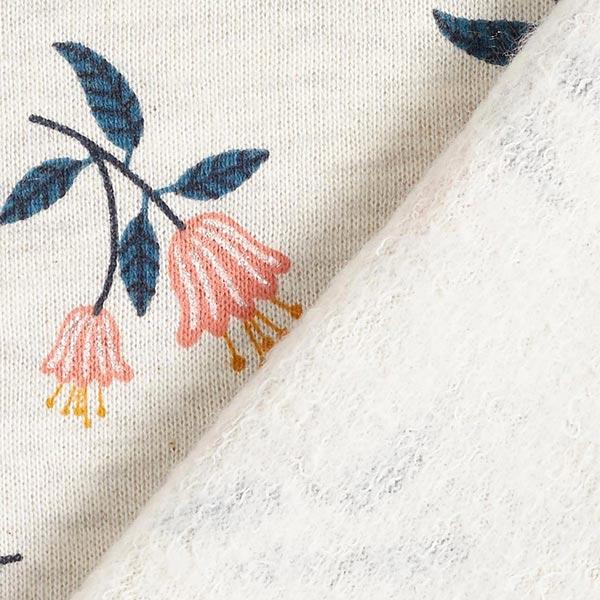 Sweatstoffe Glitzerblumen – wollweiss/jeansblau