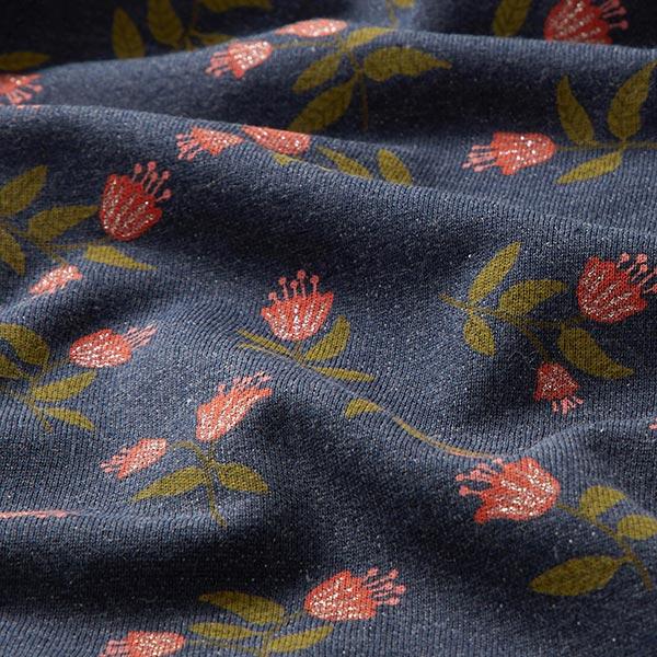 Sweatstoffe Glitzerblumen – marineblau/hummer