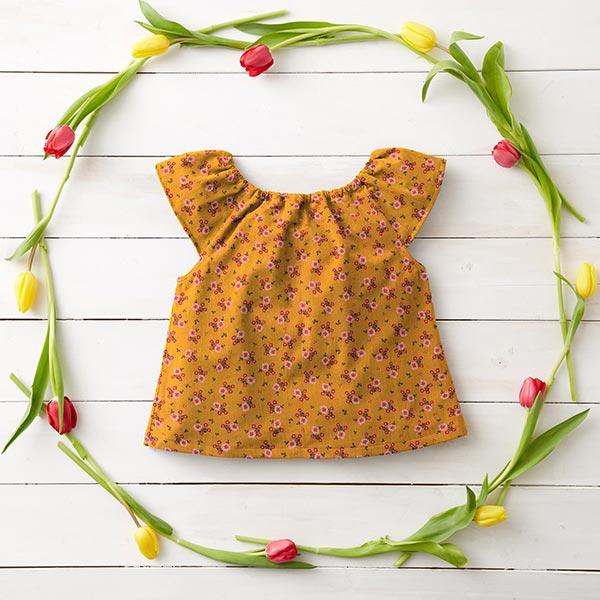 Mousseline / Tissu double crêpe GOTS Petites fleurs – curry
