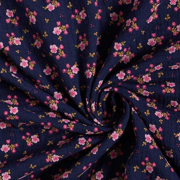 Mousseline / Tissu double crêpe GOTS Petites fleurs – bleu marine