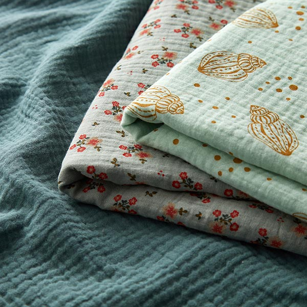 Mousseline / Tissu double crêpe GOTS Petites fleurs – roseau