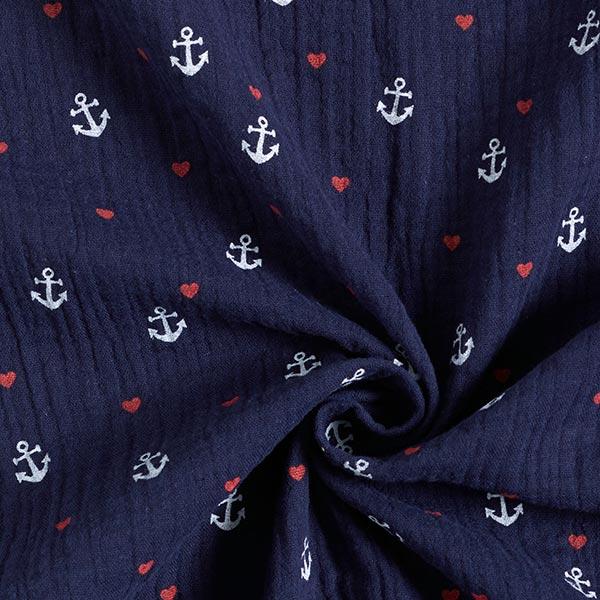 Mousseline / Tissu double crêpe GOTS Ancre et cœurs – bleu marine