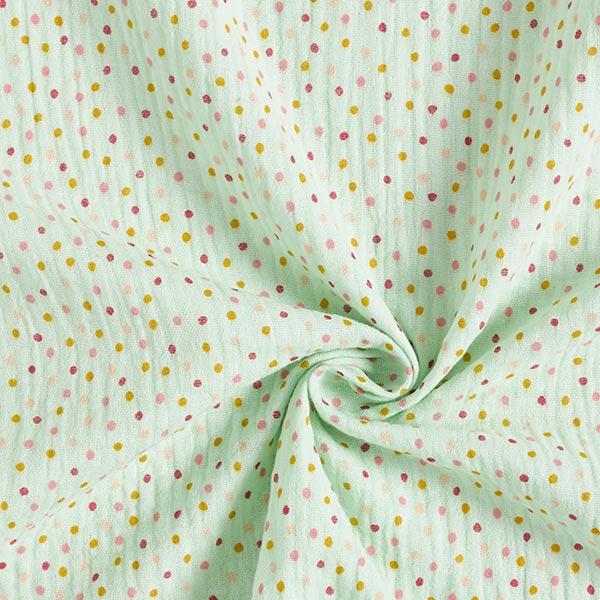 Mousseline / Tissu double crêpe GOTS Petits points – vert pastel/abricot